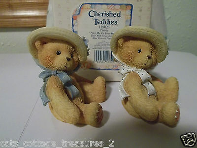 Cherished Teddies 2 CHRISTY Bears 1 is the RARE white ribbon Bear. 1995 VGC