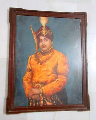 Antique Old Artist Indian Jodhpur King Hanwant Singh Fine Oil Painting On Canvas
