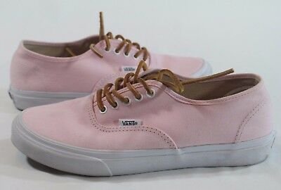 3ee7ab9ae5 VANS Authentic Pale Light PINK Canvas SHOES Leather LACES Men 7 Women 8.5