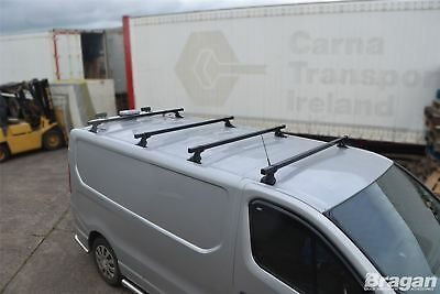 To Fit 2014+ Opel Vauxhall Vivaro MK3 4 Bar Metal Roof Rack Bars Rails + Stops