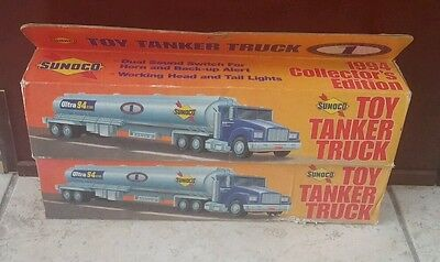 #B2 Lot of 5 SUNOCO Toy Tanker (2)/Aerial Tower Fire Truck (2)/HESS Rescue Truck