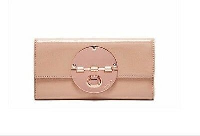 MIMCO Large Turnlock Wallet Blush Pink Patent Leather Rose Gold RRP $199