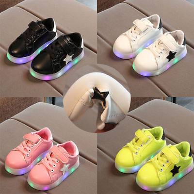 Kids Boys Girls LED Light  Sport Shoes Up Luminous Children Trainers Sneakers