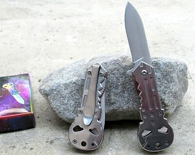 New Silver Punisher Skull Logo Spring Assisted Folding Tactical Pocket Knife