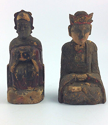 Antique Chinese  pair of carved lacquered wood Buddhist temple figures Ming
