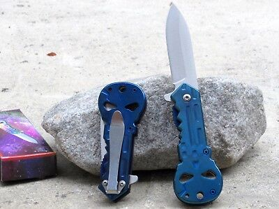 New Blue Punisher Skull Logo Spring Assisted Folding Tactical Pocket Knife Blade