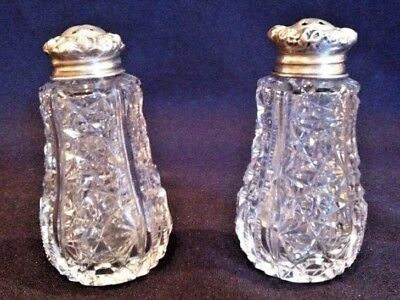 Cut Glass (ABCG) Salt & Pepper Shakers w/ Sterling Silver tops