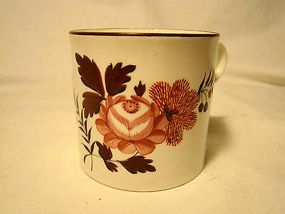 English Soft Paste Porcelain Rose & Sprigs Coffee Can or Mug c.1812-1830