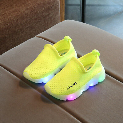 LED Kid Casual Sneakers Shoes Boys Girl Light Up Baby Toddler Luminous Trainers