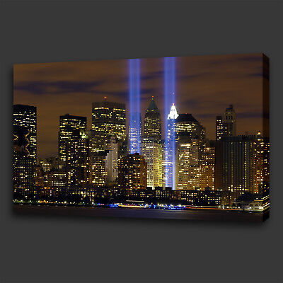 New York Twin Towers Tribute Night Light Box Canvas Print Wall Art Picture Photo