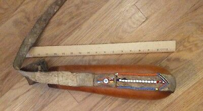 antique maasai leather trimmed water gourd