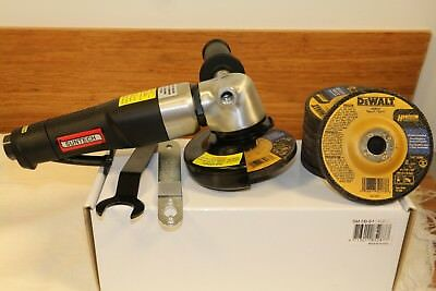 "Suntech 4"" Speed Governed Air Angle Grinder with Swivel Guard + 10 Dewalt Wheels"