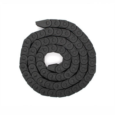 "10x15mm 1M 40"" Enclosed Plastic Towline Cable Chain Drag Carrier Wire Black"
