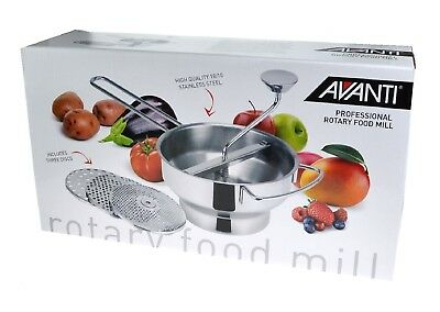 NEW AVANTI PROFESSIONAL ROTARY FOOD MILL WITH 3 BLADES Mouli Ricer Mash Masher