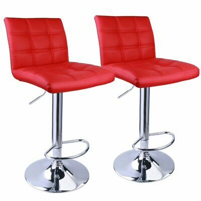 Set 2 Red Air Lift Adjustable Stools Faux Leather Seat Swivel Chrome Bar Chair