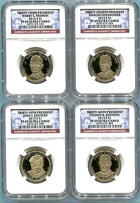 2015 S Presidential Dollar 4 Coin Proof Set NGC PF69 Ultra Cameo