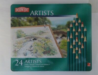 Derwent Artists pencils set of 24 in tin colour pencil crayons