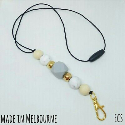 Silicone Beads Lanyard Keyring Chain Safety Clasp Holder ID Gold Marble Teacher