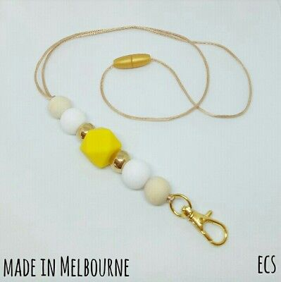 Silicone Beads Lanyard Keyring Chain Safety Clasp Holder ID Gold Yellow Teacher