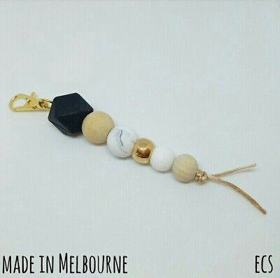 Silicone Beads Keychain Keyring Chain Swivel Key Ring Clasp Holder Gold Marble