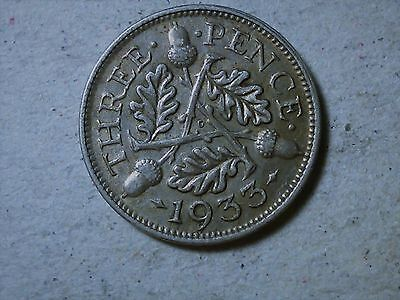 Great Britain 3 pence threepence 1933 George V silver