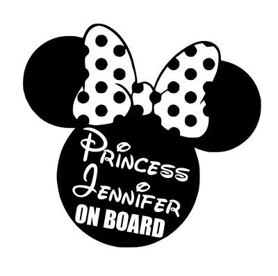 Disney Minnie Mouse Car Decal / Sticker - Princess [Name] on Board
