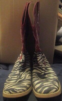 Ladies Roper Size 71/2 Black And White Zebra Look Red Tops Cow Girls Boots
