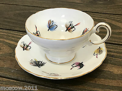 Unique Crown Staffordshire Bone China Fly Fishing Teacup and Saucer - England