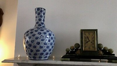 Large Antique Vintage Oriental Ceramic Chinese Blue & White Bottle Vase - 52cm H