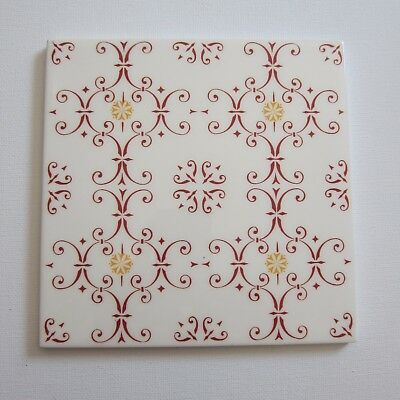 "Vintage 1960s 6"" x 6"" Red & Gold Wall Tile, 31 sq ft available, ITALY"