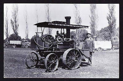 Real Photographic Postcard RPPC Mt Pleasant IA Early Steam Engine / Tractor PC