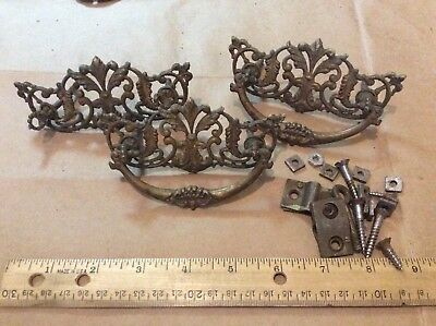 Lot of 3 Matching Vintage Antique Metal Drawer Pulls