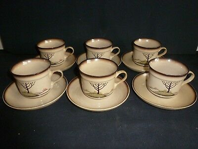 Six Denby - Savoy Pattern - 12 Piece Tea Set
