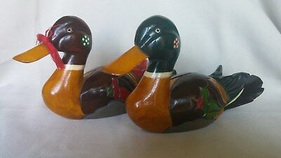 KOREAN Traditional WOODEN CARVED WEDDING GEESE Figurines BIRD DUCK Red Green
