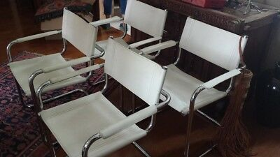 Vintage (1970s) Italian White Leather Occasional/Dining Arm Chairs - Set of 4