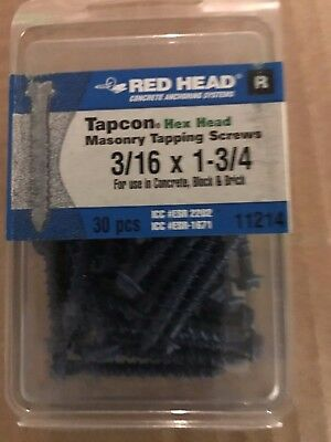 Red Head Tapcon®  3/16  x 1 3/4 Masonry Hex Head Tapping Screws ( QTY 30)