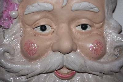 Shabby Cottage Chic Christmas Santa Head Plaque Pink Glittered Hat Embellished