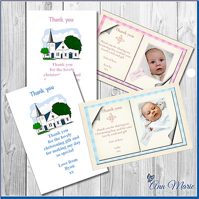 10 x CHRISTENING THANK YOU CARD BOY GIRL CHRISTENING BAPTISM THANKS CARDS