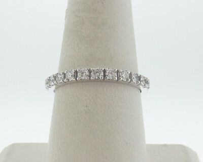 Genuine G VS 2/3ct tw Diamonds Solid 14k White Gold Ring 2.5mm Band Size10
