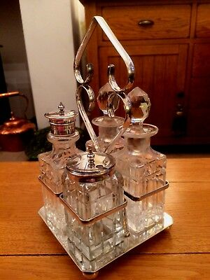 Vintage SILVER PLATED CUT GLASS 4 PIECE CONDIMENT CRUET SET with STAND