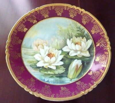 Hand Painted Water Lilies Display Platter Charger Wall Plaque Royal Vienna Style