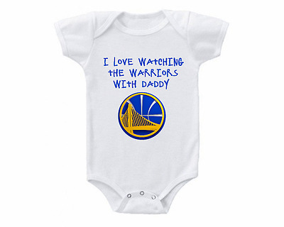Golden State Warriors Watching With Daddy Baby Onesie or Tee Shirt
