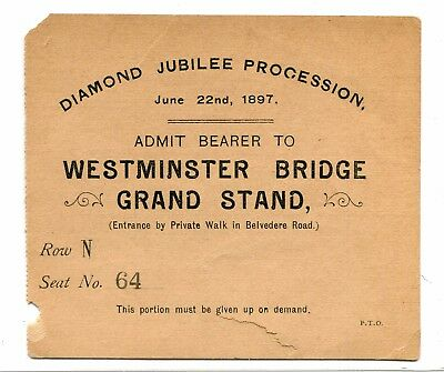 Vintage Admission Ticket DIAMOND JUBILEE PROCESSION Queen Victoria 1897 England