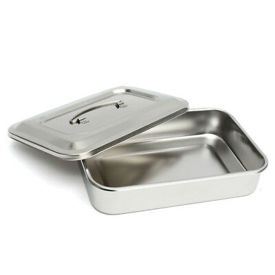 Stainless Steel Instrument Tray with Lid & Handle for Medical Dental