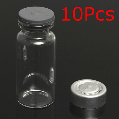 10Set 10ml Vials Bottles with Stopper Caps for 20MM Hand Crimper Seal Ring Machi