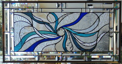 """Stained Glass window Abstract  hanging 30 1/2 X 16 """" POLISHED BRASS FRAME"""