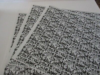 Miniature Dollhouse Wallpaper J. Hermes SILOUETTES black on white