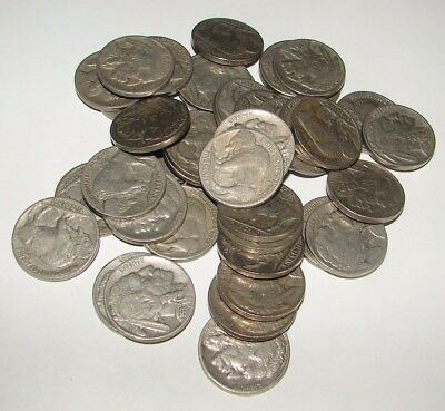 1930 ' S Buffalo Bison Nickel Roll Circulated Coins 40 Coins Mixed Full Dates