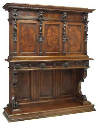 Antique Sideboard, Continental Baroque Style, Figural Carved,1800s, Gorgeous!!