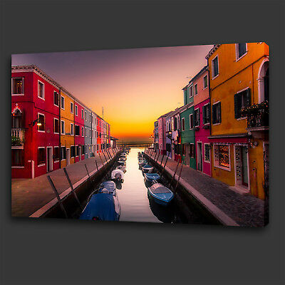 Colourful Venice Canal Boats Sunset Box Canvas Print Wall Art Picture Photo